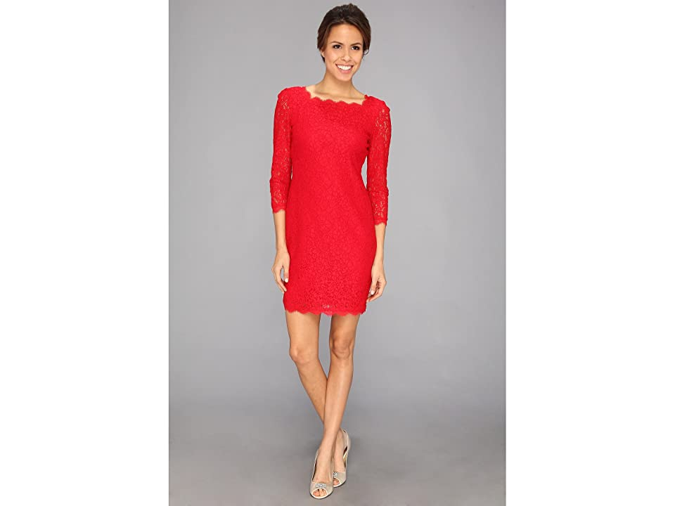 Adrianna Papell L/S Lace Dress (Red) Women