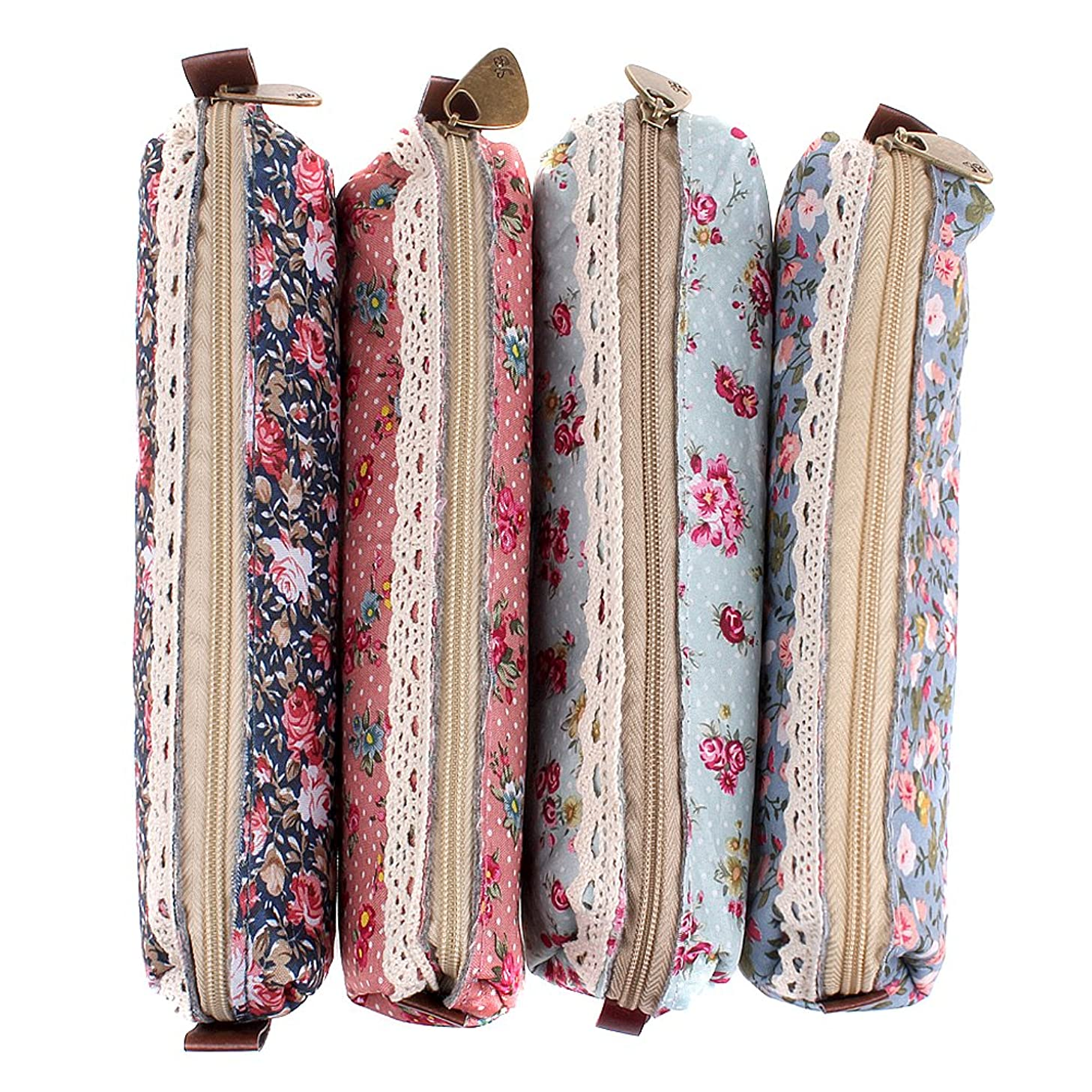 EUBUY Fashion Floral Pattern Korean Style Canvas Pen Bag Coin Purse Key Make Up Pouch Bag Case Pack Of 4