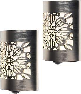 GE 46817, 2 Pack, Plug-in, Dusk to Dawn Sensor, Home Decor, UL-Listed CoverLite LED Night Light, Brushed Nickel | Floral, ...