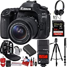 Canon EOS 80D DSLR Camera with 18-55mm Lens + Godox Speedlite Flash (PRO Model) + 64GB Sandisk Extreme (PRO Model) Memory Card + Backpack + Tripod + More Accessories
