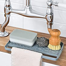 YOHOM Sponge Holder Kitchen Sink Tray Organizer for Dish Sponge Scrubber Sink Caddy with Towel Holder Plastic Suction Cups...