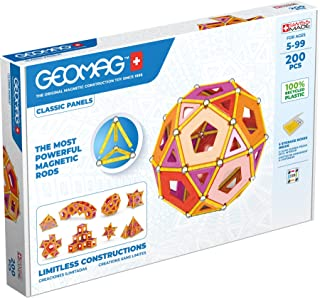 Geomag - Classic Panels 200 Pieces - Magnetic Construction for Children - Green Collection - 100% Recycled Plastic Educati...