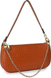 Yaluxe Clutch Schultertasche Damen Crocodile Muster Echtes Leder Croc Retro Handtasche Reißverschluss Klassik