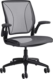 Humanscale Diffrient World Office Task Desk Chair - Adjustable Duron Arms - Black Frame Platinum Dash Back and Seat Mesh W11BA14A14-S - Soft Hard Floor Casters