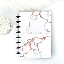 Planner Cover White Marble Rose Gold Replacement for Discbound | Personalized Custom
