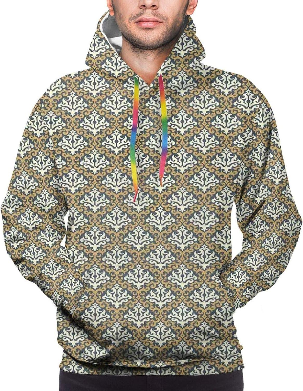 Men's Hoodies Sweatshirts,Old Fashioned Flower Figures in Circular Forms Oriental Art Arabesque Inspiration