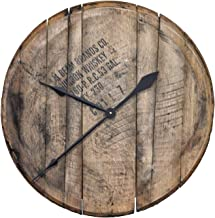 Authentic Reclaimed Bourbon Whiskey Barrel Head Clock - Comes Ready to Hang … (Natural Oak)