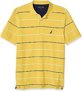 Men's Classic Fit Short Sleeve 100% Cotton Pique Stripe...