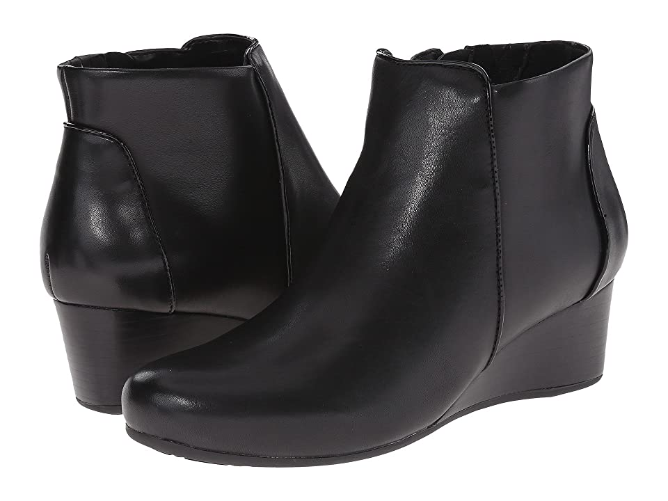 Rockport Total Motion 45mm Wedge Bootie (Black Burn Calf) Women