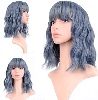 Wavy Wig 12 Inch Short Bob Wigs With Air Bangs Shoulder Length Women's Short Wig Curly Wavy Synthetic Cosplay Wig Bob Wig for Girl Halloween Costume Wigs blue color