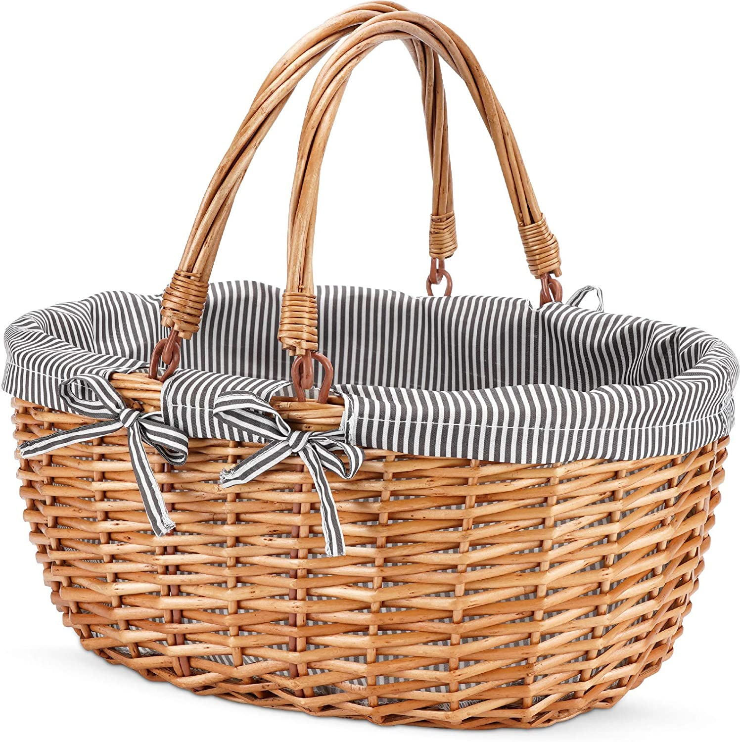excellence G GOOD GAIN Ranking TOP7 Oval Picnic Basket with Hand Handles Willow Folding