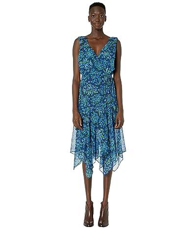 The Kooples Camelia Print Maxi Asymmetrical Dress (Navy) Women