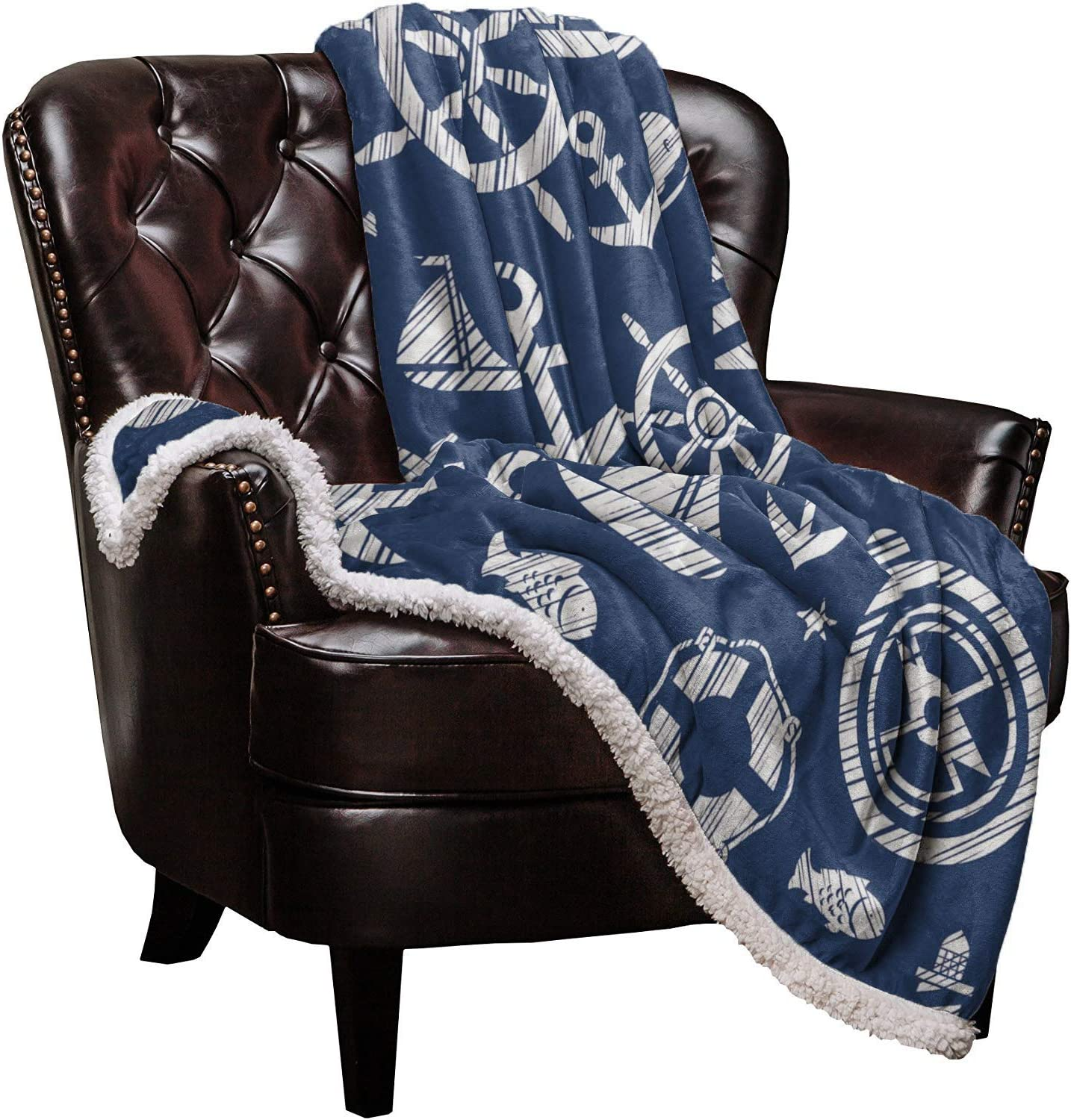 Sherpa Fleece New products world's highest Max 80% OFF quality popular Throw Blanket Ship Lighthouse Lifebuoy Blue and on