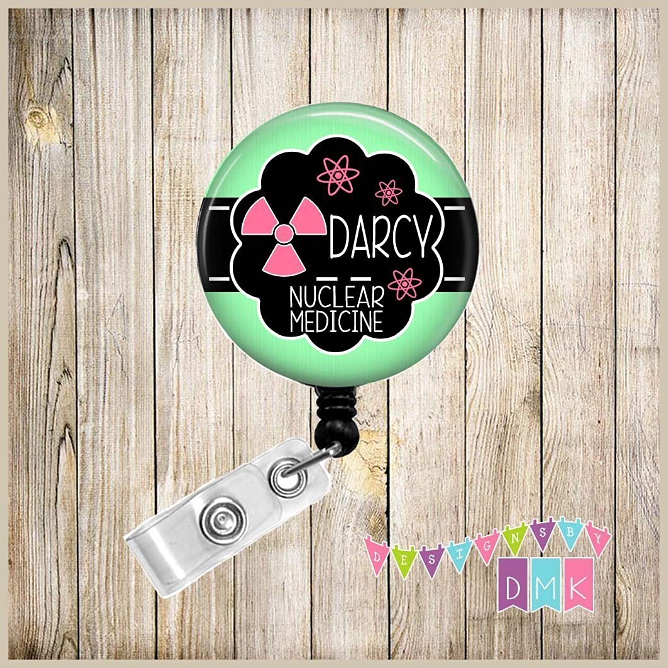 Personalized - Nuclear Medicine - Radioactive Symbol with Atoms - Mint with Pink - Button Badge Reel