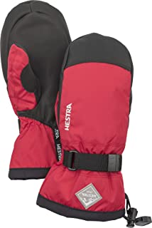 Hestra Ski Mittens for Kids: Waterproof C-Zone Cold Weather Winter Gloves, Red/Black, 3