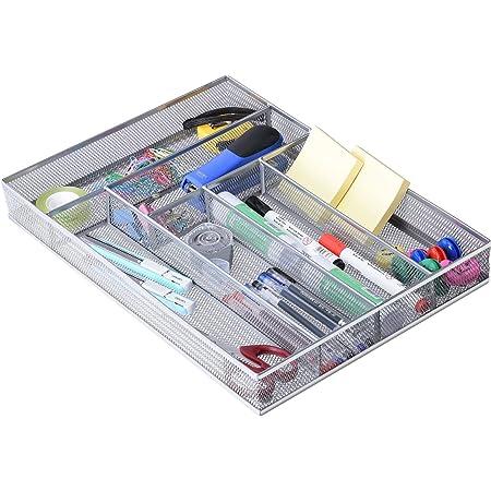 オフィス 整理トレー引き出し用 金属製 事務用品収納トレー 6コンパート 小物入れデスクトレー メッシュのデザイン