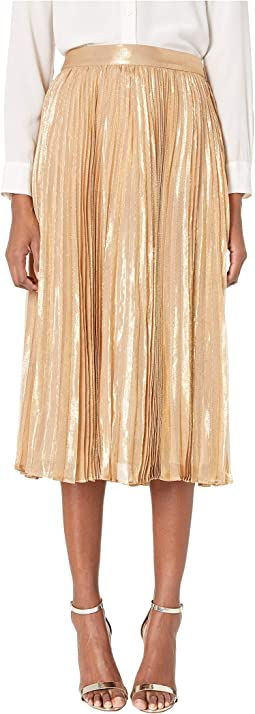 Dashing Beauty Metallic Pleated Midi Skirt