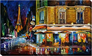 Picture Perfect International Giclee Stretched Wall Art by Leonid Afremov Recruitment Cafe, Paris Artists-Canvas, 24