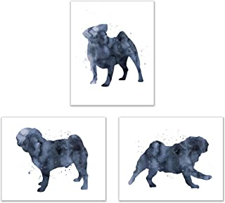 Summit Designs Pug Wall Art Decor - Set of 3 Prints (8x10) - Poster Photos - Puppy Dog Watercolor