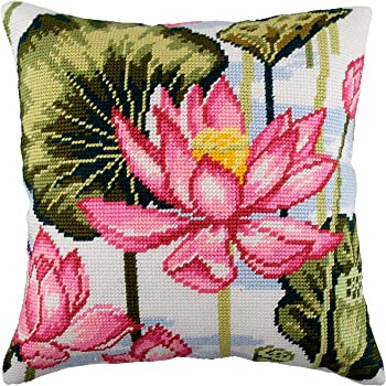 Printed Tapestry Canvas Lilies in Watercolor with Backing Throw Pillow 16/×16 Inches European Quality Needlepoint Kit