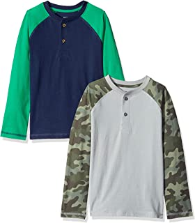 Spotted Zebra Boys' Toddler & Kids 2-Pack Long-Sleeve Henley Shirts