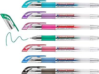 edding 2185 gel roller - Black, Red, Blue, Green, violet, Pink, Light Blue - Set of 7-0.7 mm - gel Pen for Writing, Drawin...