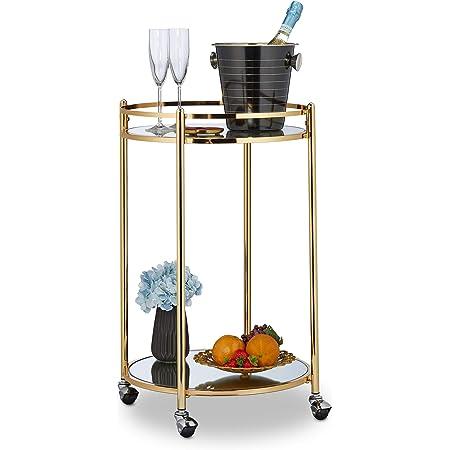 soggiorno bar carrello da cucina con 3 rotelle per hotel cucina bagno ufficio Warmiehomy Carrello di stoccaggio in metallo durevole per servire bevande bar carrello con 2 ripiani