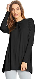Womens Long Sleeve Tunic Top with Front and Back Pleat- Made in USA