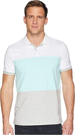 Short Sleeve Color Blocked Self Collar Polo