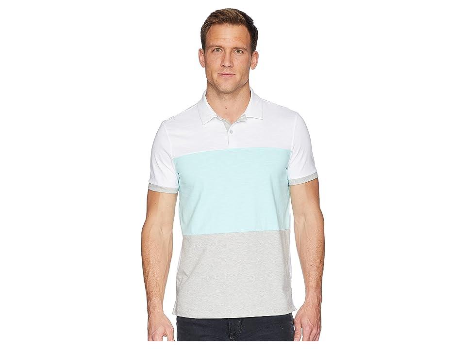 Calvin Klein Short Sleeve Color Blocked Self Collar Polo (Stand White Combo) Men