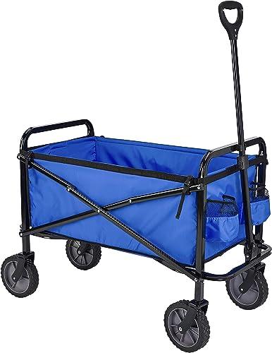 Amazon Basics - Carreta plegable para jardín y aire libre con bolsa de cubierta, azul