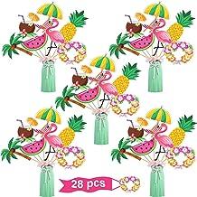 Juego de Palitos de Centro de Mesa de Fiesta Hawaiana 28 Topper de Mesa Tropicales Decoración Fiesta de Palma Piña Flamenco para Baby Shower Cumpleaños Fiesta Tema Verano Luau , 7 Estilos