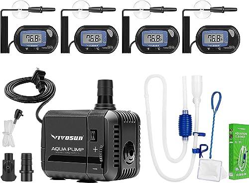 wholesale VIVOSUN 4-Pack LCD discount outlet online sale Digital Aquarium Thermometer, 210GPH Submersible Pump, quarium Gravel Cleaner Siphon online