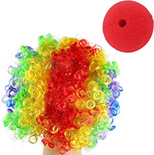 Jashem Clown Wig and Foam Clown Nose Colorful Rainbow Wig Clown Costume Halloween Circus Costume Clown Hair for Clown Parties Carnivals Pretend Play for for Kids and Adults