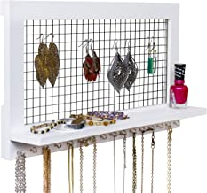 SoCal Buttercup White Jewelry Organizer from Wooden Wall Mounted Holder for Earrings/Necklaces/Bracelets/Accessories