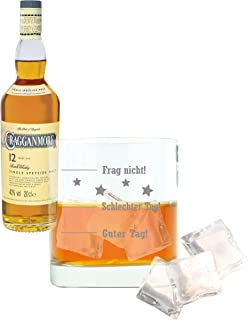 Whiskey 2er Set, Cragganmore 12 Years / Jahre, Single Malt, Whisky, Scotch, Alkohol, Alokoholgetränk, Flasche, 40%, 200 ml, 701742, Geschenk zum Vatertag, mit graviertem Glas