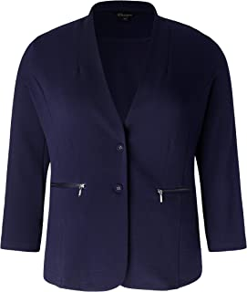Women's Plus Size Stretch Soft Unstructured Blazer with Zipped Pockets Button Closure