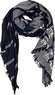 Aimee Unisex Decent Navy Blue Stripe Viscose Scarf for Men & Women