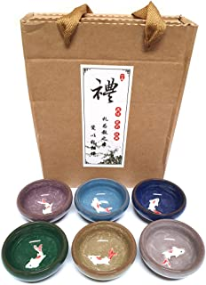 [LENITH] Korean Soju Shot Gl Sets, Cute Fish in the Glass, Wooden Soju Cup, Handcrafted Ceramic 6 Colors Fish in the Gl, A...