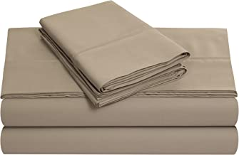 Tribeca Living 600ECED4PSSQUCL 600 Thread Count Sateen Extra Deep Pocket Sheet Set, Queen, Clay