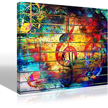 "Abstract Picture Watercolor Collage Music Notes Violin Clef Painting Canvas Print Wall Art Colorful Artwork for Living Room Bedroom Karaoke Bar Decoration Modern KTV Home Decor Framed,12""X16""X1Pcs"