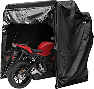 Happybuy Motorcycle Shelter Storage Waterproof Motorbike Storage Tent Oxford 600D Black Color Motorcycle Shelter Shed with TSA Code Lock & Carry Bag