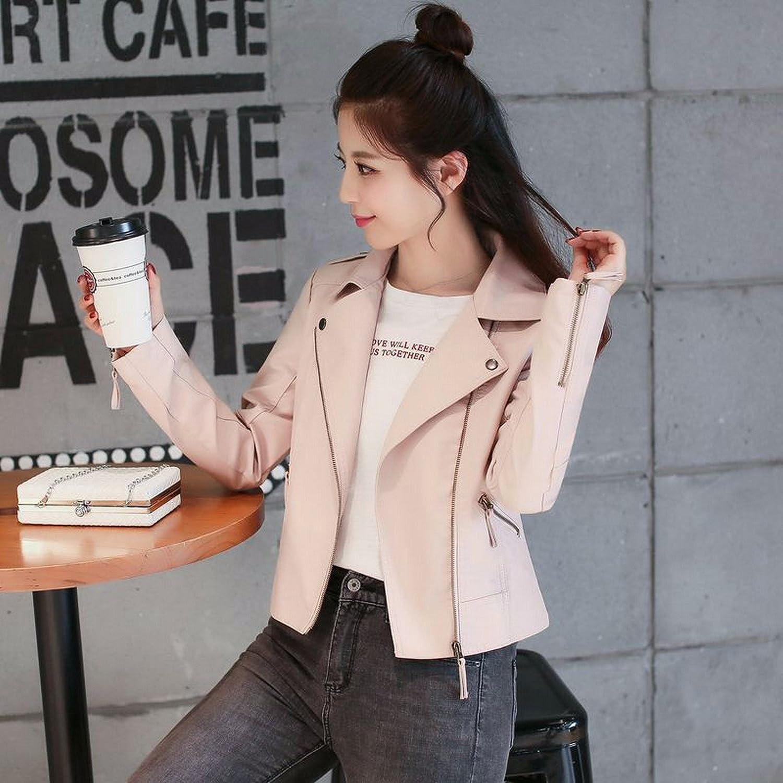 OLQMY Korean lady leather jacket, Pu motorcycle coat,Pink,M