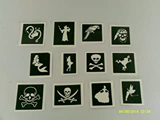 30 x Pirate & Princess themed stencils for glitter tattoos / many other uses! mermaid, skull & crossbones, parrot