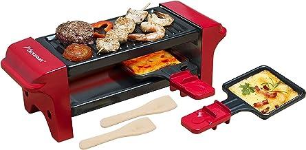 Bestron Mini Gril raclette, Pour 1 à 2 personnes, Revêtement anti-adhésif, 350 W, Rouge/Noir