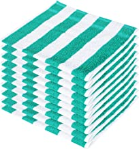 SHAMBHAVI 300 GSM 10 Piece Cotton Hand Towel Set (Green & White)