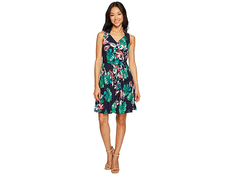 Tahari by ASL Petite Palm Print Tie-Waist A-Line Dress (Navy/Palm/Hibiscus) Women