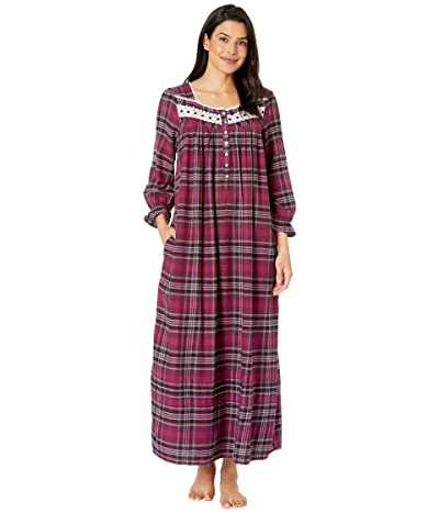 Eileen West Cotton Lawn Woven Long Sleeve Ballet Nightgown (Holiday Plaid) Women