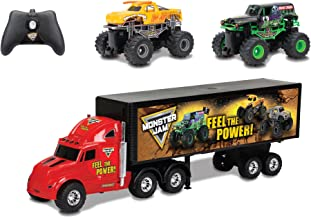 New Bright R/C S/F Hauler Set Car Carrier with Two Mini Monster Jam Trucks (Grave Digger & El Toro Loco), 22