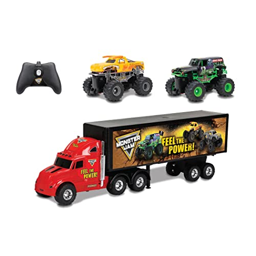 "New Bright R/C S/F Hauler Set Car Carrier with Two Mini Monster Jam Trucks (Grave Digger & El Toro Loco), 22"", Red/Black"